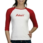 Rugby Girl 3/4 Women's T-Shirt (Red/Wht)