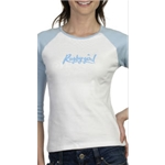 Rugby Girl 3/4 Women's T-Shirt (White/Sky)