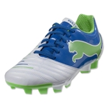 PUMA Women's PowerCat 4.12 FG (White/Puma Royal)