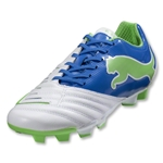 PUMA PowerCat 3.12 FG Women's Cleats (White/PUMA Royal/Green Flash)