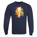 France 2011 LS Distressed Flag Rugby T-Shirt (Navy)