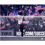Tim Howard Signed in Goal with American Flags in the Crowd Print