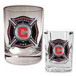 Chicago Fire Rocks Glass and Square Shot Glass Set