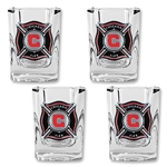 Chicago Fire 4 pc Square Shot Glass Set