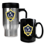 LA Galaxy Stainless Steel Travel Mug and Black Ceramic Mug