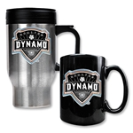 Houston Dynamo Stainless Steel Travel Mug and Black Ceramic Mug
