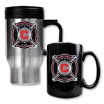 Chicago Fire Stainless Steel Travel Mug and Black Ceramic Mug