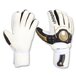 Uhlsport Ergonomic Absolutgrip Goalkeeper Gloves (White/Black/Gold)