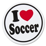 I Heart Soccer Round Decal