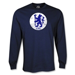 Chelsea Distressed Logo LS T-Shirt (Navy)