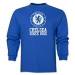 Chelsea White Crest Distressed LS T-Shirt (Royal)