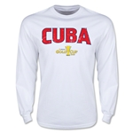 CONCACAF Gold Cup 2015 Cuba Men's Big Logo LS T-Shirt (White)