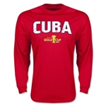 CONCACAF Gold Cup 2015 Cuba Men's Big Logo LS T-Shirt (Red)