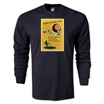 1958 FIFA World Cup Historical Poster Men's Fashion LS T-Shirt (Black)