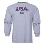 USA 2014 FIFA World Cup Brazil(TM) Men's LS Palm T-Shirt (Grey)