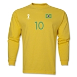 Brazil 2014 FIFA World Cup Brazil(TM) Men's LS Number 10 T-Shirt (Yellow)