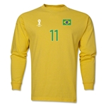 Brazil 2014 FIFA World Cup Brazil(TM) Men's LS Number 11 T-Shirt (Yellow)