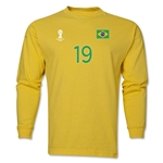 Brazil 2014 FIFA World Cup Brazil(TM) Men's LS Number 19 T-Shirt (Yellow)