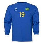 Brazil 2014 FIFA World Cup Brazil(TM) Men's LS Number 19 T-Shirt (Royal)