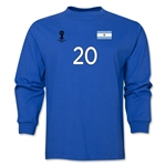 Argentina 2014 FIFA World Cup Brazil(TM) Men's LS Number 20 T-Shirt (Royal)