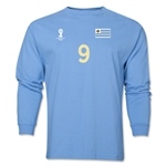 Uruguay 2014 FIFA World Cup Brazil(TM) Men's LS Number 9 T-Shirt (Sky)