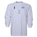 Uruguay 2014 FIFA World Cup Brazil(TM) Men's LS Number 2 T-Shirt (White)