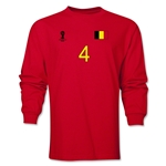 Belgium 2014 FIFA World Cup Brazil(TM) Men's LS Number 4 T-Shirt (Red)