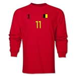 Belgium 2014 FIFA World Cup Brazil(TM) Men's LS Number 11 T-Shirt (Red)