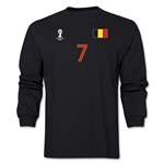 Belgium 2014 FIFA World Cup Brazil(TM) Men's LS Number 7 T-Shirt (Black)