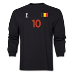 Belgium 2014 FIFA World Cup Brazil(TM) Men's LS Number 10 T-Shirt (Black)