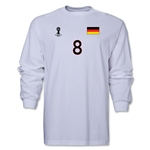 Germany 2014 FIFA World Cup Brazil(TM) Men's LS Number 8 T-Shirt (White)