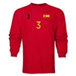 Spain 2014 FIFA World Cup Brazil(TM) Men's LS Number 3 T-Shirt (Red)