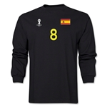 Spain 2014 FIFA World Cup Brazil(TM) Men's LS Number 8 T-Shirt (Black)