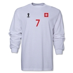 Switzerland 2014 FIFA World Cup Brazil(TM) Men's LS Number 7 T-Shirt (White)