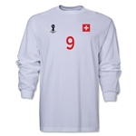 Switzerland 2014 FIFA World Cup Brazil(TM) Men's LS Number 9 T-Shirt (White)