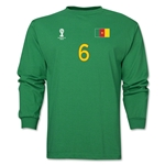 Cameroon 2014 FIFA World Cup Brazil(TM) Men's LS Number 6 T-Shirt (Green)