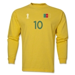 Cameroon 2014 FIFA World Cup Brazil(TM) Men's LS Number 10 T-Shirt (Yellow)
