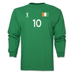Cote d'Ivoire 2014 FIFA World Cup Brazil(TM) Men's LS Number 10 T-Shirt (Green)