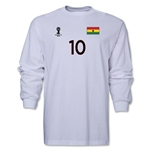 Ghana 2014 FIFA World Cup Brazil(TM) Men's LS Number 10 T-Shirt (White)