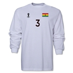 Ghana 2014 FIFA World Cup Brazil(TM) Men's LS Number 3 T-Shirt (White)