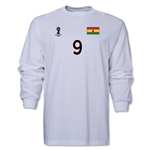Ghana 2014 FIFA World Cup Brazil(TM) Men's LS Number 9 T-Shirt (White)