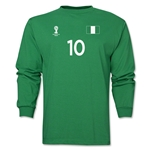 Nigeria 2014 FIFA World Cup Brazil(TM) Men's LS Number 10 T-Shirt (Green)