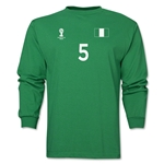 Nigeria 2014 FIFA World Cup Brazil(TM) Men's LS Number 5 T-Shirt (Green)