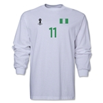 Nigeria 2014 FIFA World Cup Brazil(TM) Men's LS Number 11 T-Shirt (White)