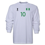 Nigeria 2014 FIFA World Cup Brazil(TM) Men's LS Number 10 T-Shirt (White)