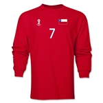 Chile 2014 FIFA World Cup Brazil(TM) Men's LS Number 7 T-Shirt (Red)