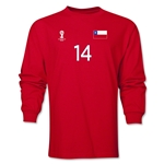 Chile 2014 FIFA World Cup Brazil(TM) Men's LS Number 14 T-Shirt (Red)