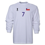 Chile 2014 FIFA World Cup Brazil(TM) Men's LS Number 7 T-Shirt (White)