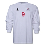 South Korea 2014 FIFA World Cup Brazil(TM) Men's LS Number 9 T-Shirt (White)