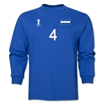 Honduras 2014 FIFA World Cup Brazil(TM) Men's LS Number 4 T-Shirt (Royal)